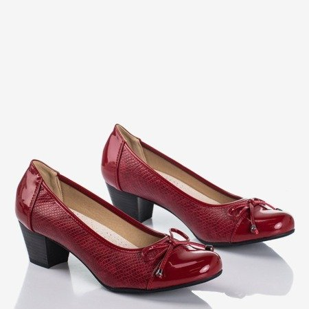 Burgundy women's pumps on a low post Ruella - Footwear 1