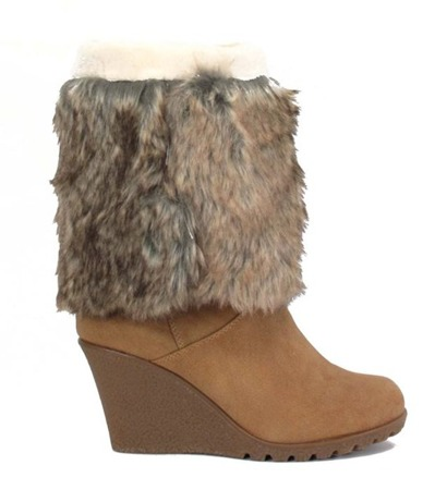 Cavelle brown women's wedge boots - shoes