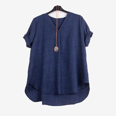 Classic women's dark blue tunic - Blouses 1