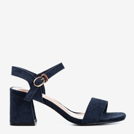 Dark blue women's sandals with a shiny finish Mira - Shoes 1