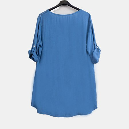 Dark blue women's tunic with print and inscriptions - Blouses 1