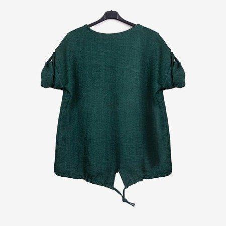 Dark green women's tunic with print - Blouses 1