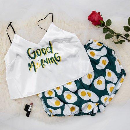 Dark green women's pajamas with print - Clothing