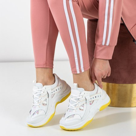 Etana white and yellow trainers with holographic inserts - Footwear
