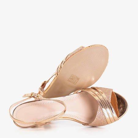 Gold women's low-heeled sandals Fererre - Footwear