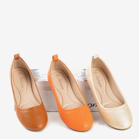 Golden women's ballerina eco - leather Nastis - Footwear 1