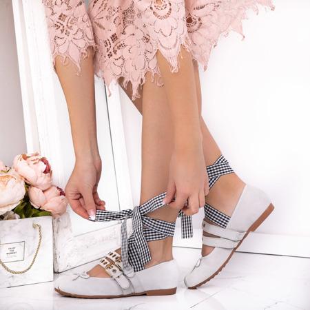 Gray ballerinas tied with a ballen - Footwear