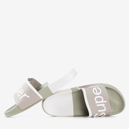 Gray men's slippers with the word Super - Footwear 1
