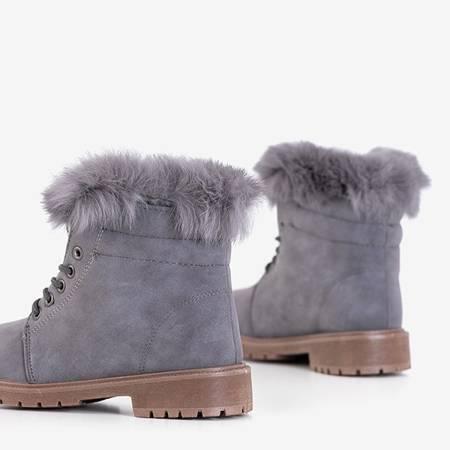 Gray women's boots with fur Zendalia - Footwear