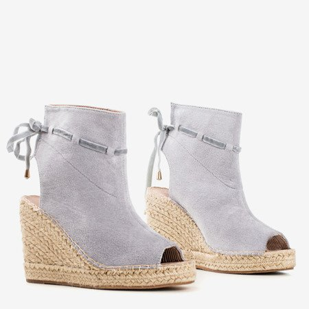 Gray women's sandals on a wedge with a Unique One upper - Footwear 1