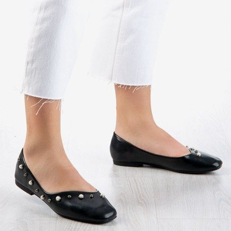 Ladies 'black ballerinas with Lovilla pearls - Footwear