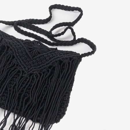Ladies 'black handbag made of braided string over the shoulder - Handbags