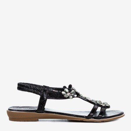 Ladies' black sandals with Crisela crystals - Footwear