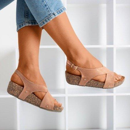 Ladies 'pink sandals on a thick Strolla platform - Footwear