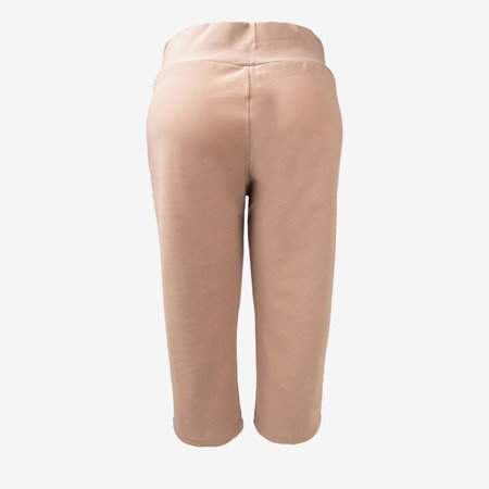 Light brown short leggings with buttons on the waist - Pants 1