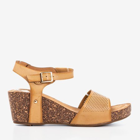 Light brown women's openwork sandals Elemia - Footwear