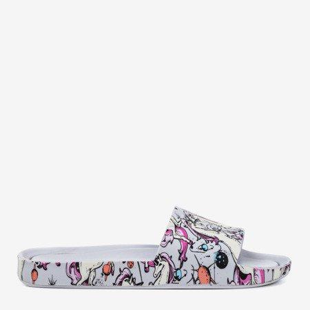 Light gray women's slippers with unicorn Vienradzis motif - Footwear 1