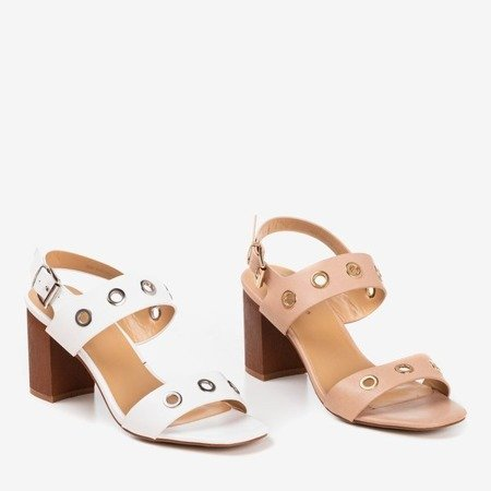 Light pink high heel sandals with Cangola cutouts - Footwear