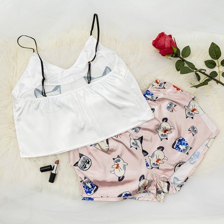 Light pink women's pajamas with a cat print - Clothing