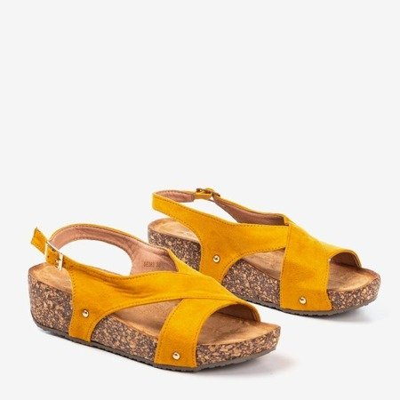 Mustard women's sandals on a thick Strolla platform - Footwear 1