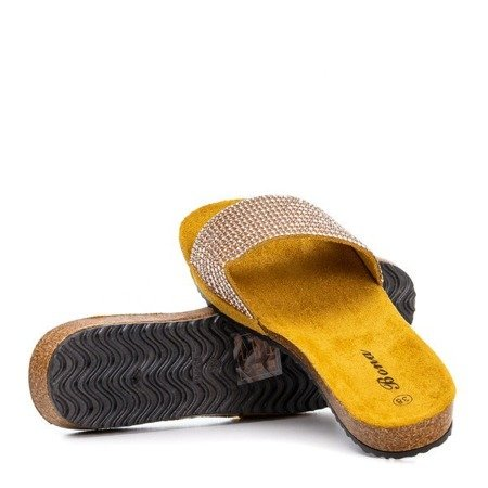 Mustard women's flip-flops with Markada cubic zirconia - Footwear 1