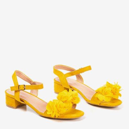 Mustard women's sandals on a low post with flowers Flonia - Footwear 1