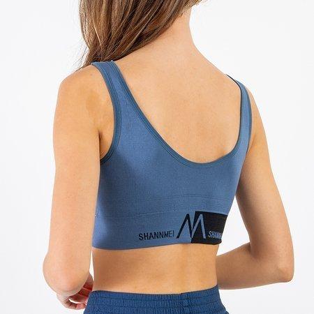 Navy blue sports bra with inscriptions - Underwear