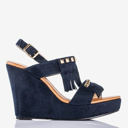 Navy sandals on wedge Sash - Footwear 1