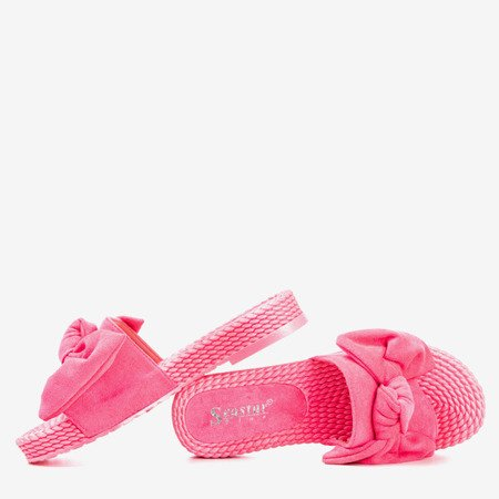 Neon pink slippers with a bow Sabella - Footwear