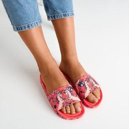 Neon pink women's slippers with a unicorn motif Vienradzis - Footwear