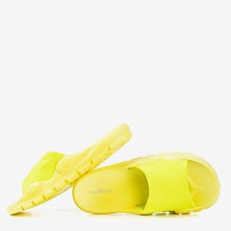 Neon yellow slippers with mesh Sensie - Footwear