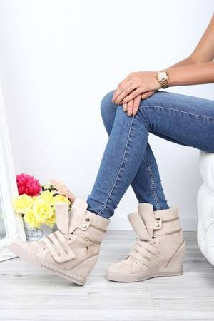 OUTLET Beige sneakers with a wedge heel with sliders Eric-Shoes
