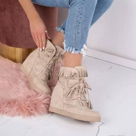 OUTLET Beige sneakers with an indoor wedge heel Emerson - Footwear