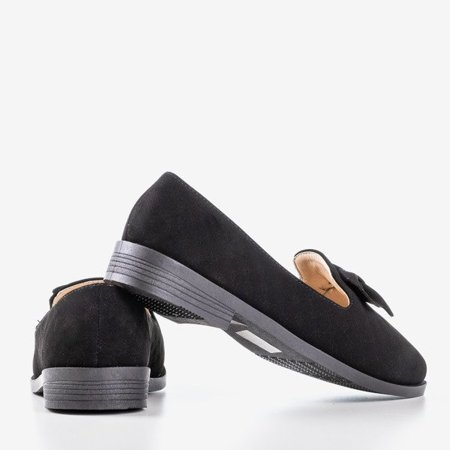 OUTLET Black moccasins with a Flavisa bow - Shoes