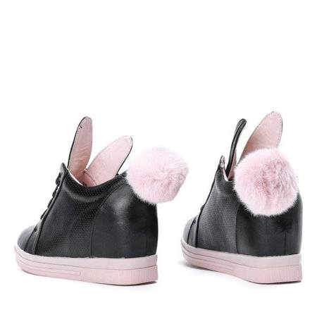 OUTLET Black sneakers with a pink wedge sole with ears and a pompom Carry - Footwear