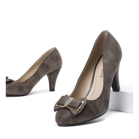 OUTLET Brown pumps on a thick heel Adora - Shoes