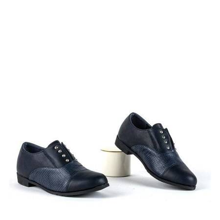 OUTLET Children's navy blue shoes with studs Herbe - Footwear