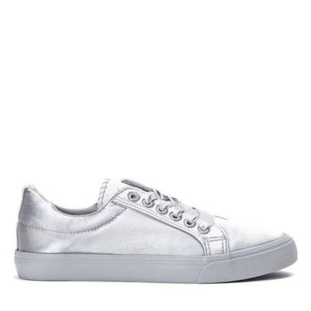 OUTLET Gray sneakers tied with a ribbon Natalienn - Footwear