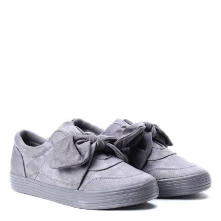 OUTLET Gray sports shoes tied with a Viculio ribbon - Footwear