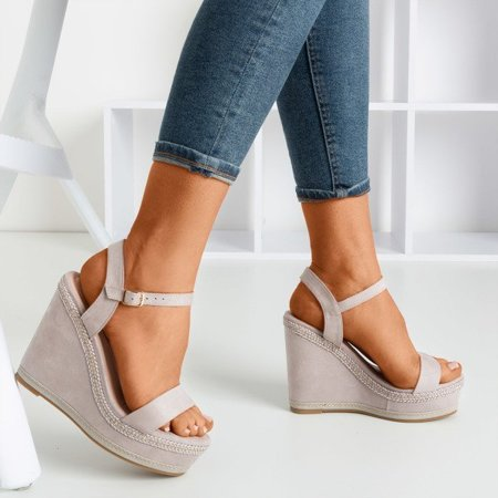 OUTLET Light gray Demeter wedge sandals - Shoes