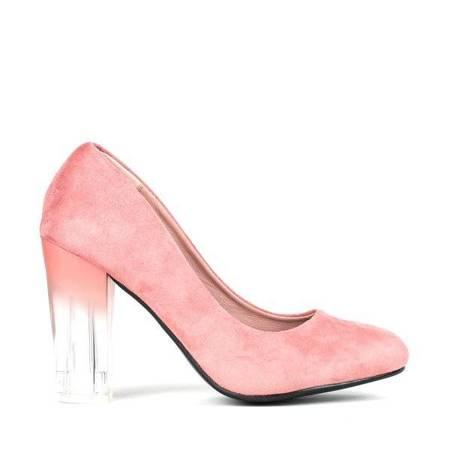 OUTLET Pink pumps on a transparent post Lorna - Shoes