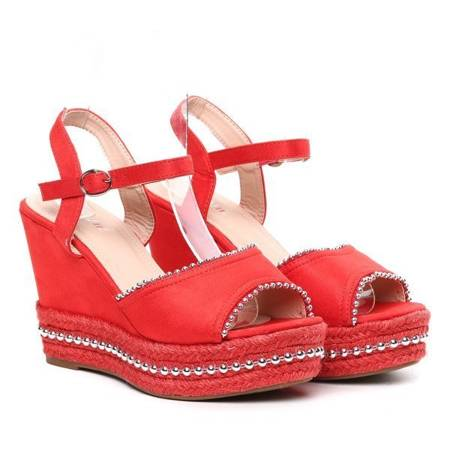 OUTLET Red wedge sandals Abigalia- Shoes