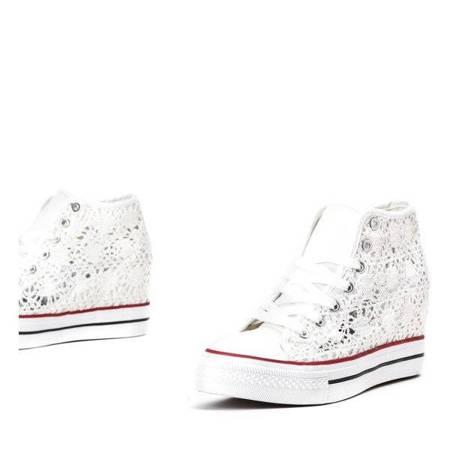 OUTLET White lace wedge sneakers Gracyanne - Footwear