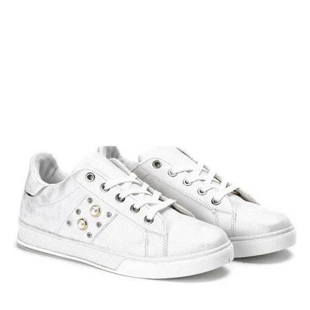 OUTLET White sneakers with pearls and cubic zirconia Emilia - Footwear