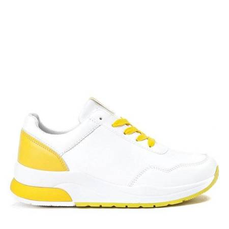 OUTLET White sneakers with yellow Roosdella inserts - Footwear