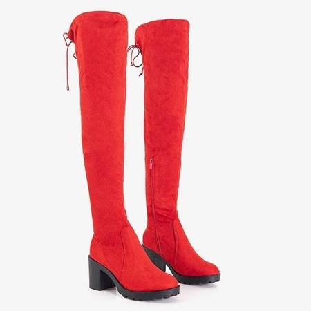 OUTLET Women's red over-the-knee boots on the Tomira post - Shoes