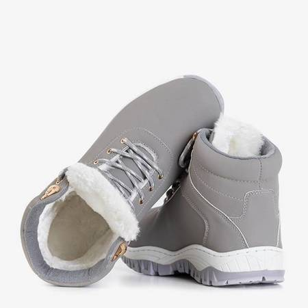 OUTLET Women's warm eco-leather hiking boots in gray Filis color - Footwear