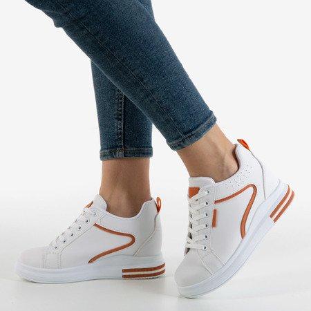 Orange and white sneakers on an indoor wedge heel Marcja - Footwear