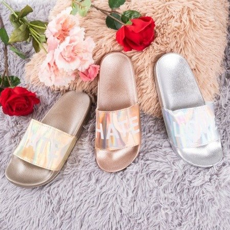 Pink and gold women's slippers with the inscription HATE & LOVE - Footwear 1