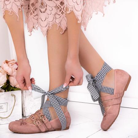 Pink ballerinas tied with a ribbon Ballen - Footwear